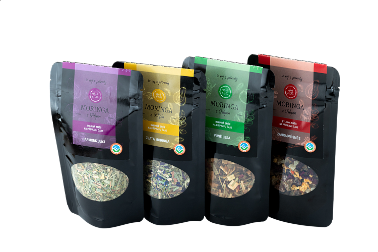 Gift set of luxury teas with moringa, 4x 50g
